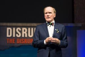 Dr Pearse Lyons addresses attendees at the closing session of ONE17