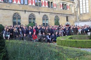 Le groupe d'éleveurs laitiers venus d'Europe qui profitent d'une visite de Maastricht, aux Pays-Bas pendant l'Alltech Euro Tour.