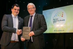 Conor O'Flaherty, Alltech crop science specialist, accepts the award for Agricultural Laboratory of the year at the Irish Laboratory Awards 2017 on Alltech's behalf alongside Matt Moran, Director, BioPharmaChem Ireland. Alltech Ireland was also nominated for 'Academic or Research Laboratory of the Year'