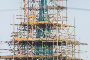 "The new glass spire now set in place on top of St James' Church in the heart of the Liberties in Dublin. The spire, weighing in at nearly 10 tonnes, shines like a beacon in the area once known as the ""Golden Triangle"". The historic St. James church, which has been deconsecrated since 1964, is set to open in the spring of 2017, as the Pearse Lyons Distillery."
